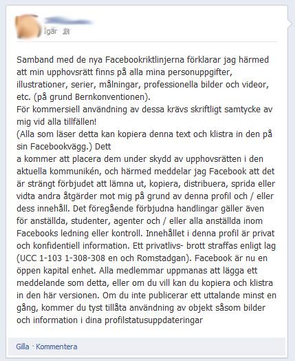 Det senaste ryktet om Facebook som spred sig via statusuppdateringar