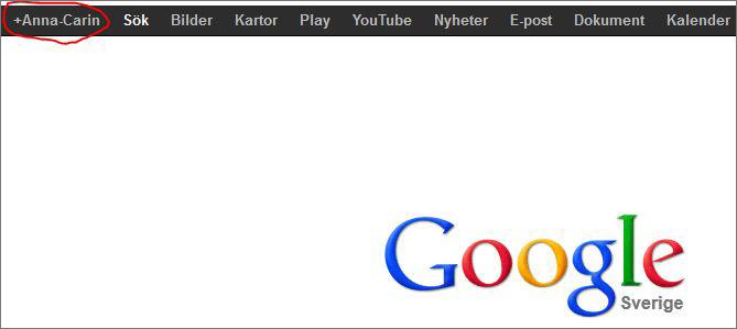 Klicka på ditt namn i den svarta ramen för att aktivera ditt Google+ konto