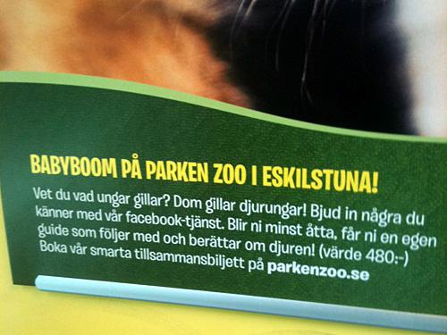 Parken Zoo annonserar på t-banan för sin Facebooktjänst.